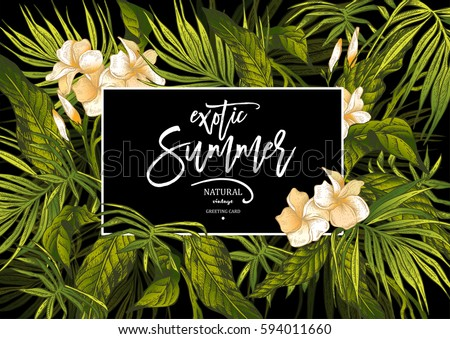 Vector Summer Natural Vintage Exotic Greeting Card  with Tropical Leaves, Botanical illustration on black background
