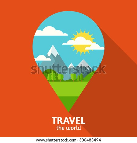 Vector summer or spring landscape background. Green valley, mountains, hills, clouds and sun on the sky in waypoint symbol shape. Travel flat design with place for text.