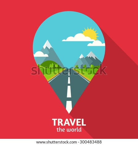 Vector summer or spring landscape background. Road in green valley, mountains, hills, clouds and sun on the sky in waypoint symbol shape. Travel flat design with place for text.