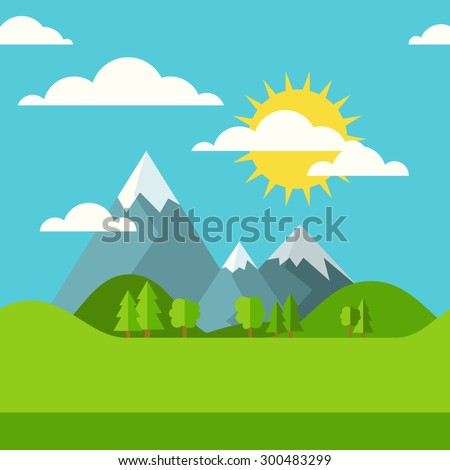 Vector summer or spring seamless landscape background. Green valley, mountains, hills, clouds and sun on the sky. Flat design nature illustration with place for text.