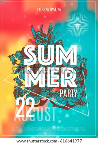 Vector summer party poster background. Summer party.
