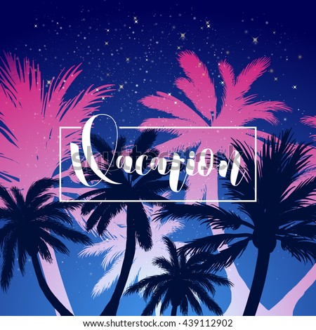Vector hot summer night party poster… Stock Photo 435243169