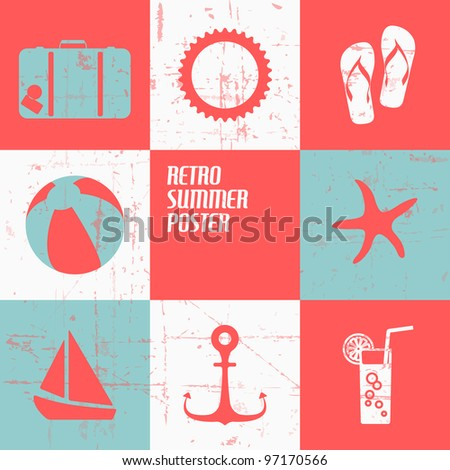 Vector summer poster made from icons - retro blue and red version