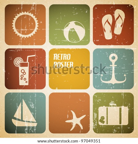Vector summer poster made from icons - retro color version - stock vector