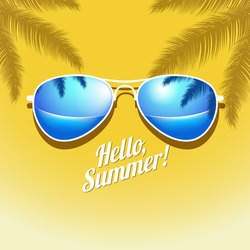 Vector Summer poster with sunglasses palm