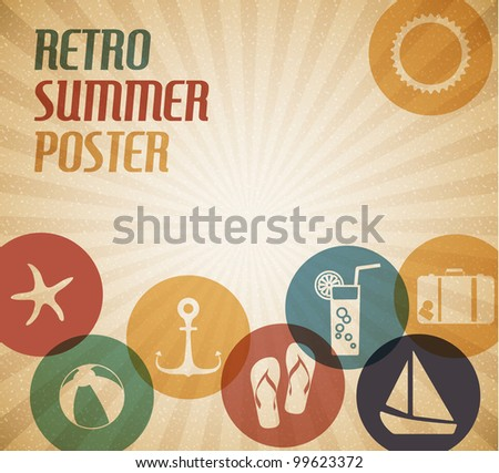 vector summer poster with the