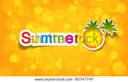 vector summer; realistic cut, takes the background color - stock vector