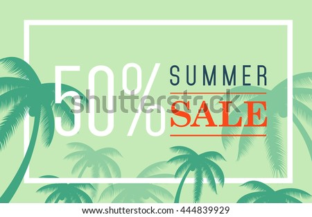 vector summer sale banner palm