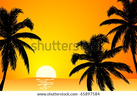 vector Summer scene in orange colors (sunrise)