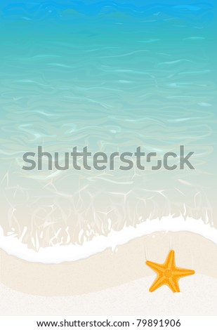 vector summer sea wave background with starfish