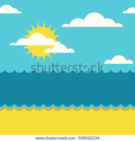 Vector summer seamless background with place for text. Blue sea, sun, clouds and sand beach flat illustration.