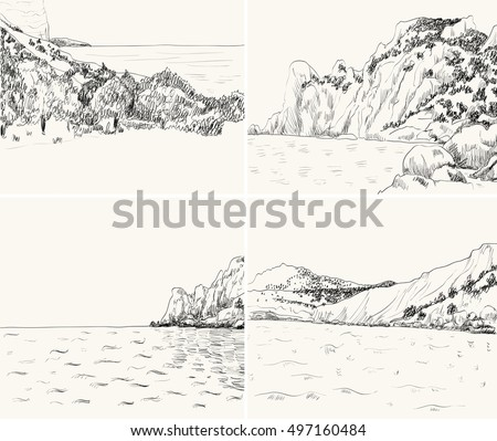 vector summer seascape sketch