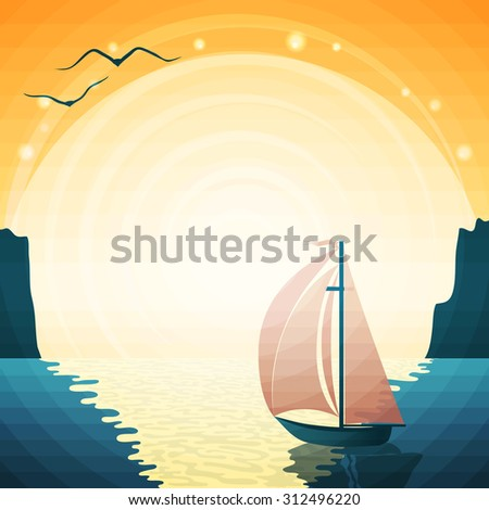 vector summer seascape with