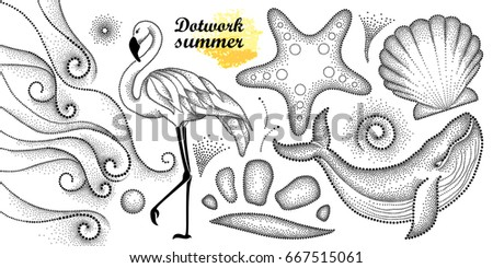 Vector summer set in dotwork style. Dotted whale, flamingo, waves, seashell, starfish, pebble, swirl in black isolated on white background. Aquatic theme with marine fauna for summer design or tattoo