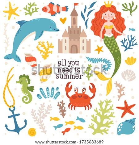Vector summer set with mermaid, sand castle, dolphin, crab, shells, seaweed and sea stars. Sea sticker collection with underwater cartoon characters. Colorful childish poster. Summertime design.