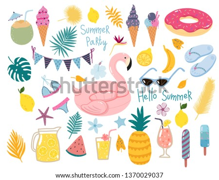Vector summer set with pool floats, cocktails, tropical fruits, ice creams, palm leaves. Collection of elements for the beach party.