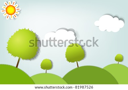 vector summer stylized landscape with trees