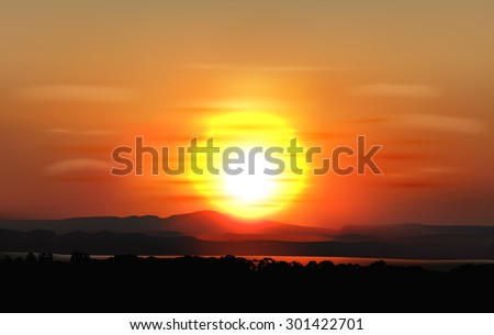 vector summer sunset with clouds