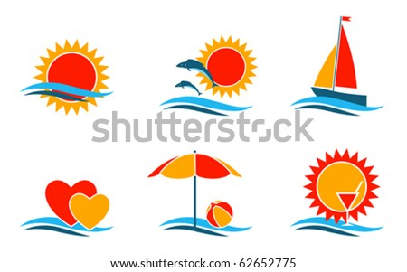 vector summer symbols collection on white background