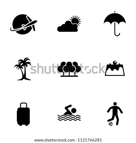 vector summer, travel, vacation and holiday icons set