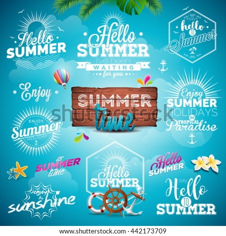 vector summer typography...