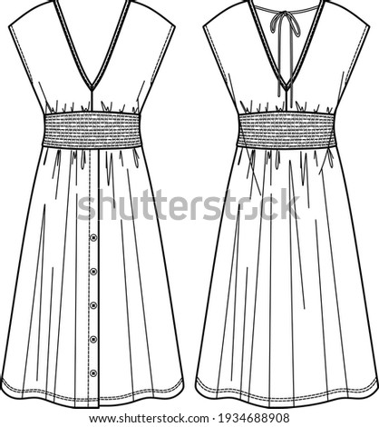 Vector summer v neck dress fashion CAD, woman midi dress with smocked waist technical drawing, template, flat, sketch Сток-фото ©