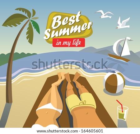 vector summer vacation on beach