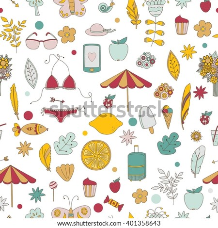 Vector summer vacation seamless pattern
