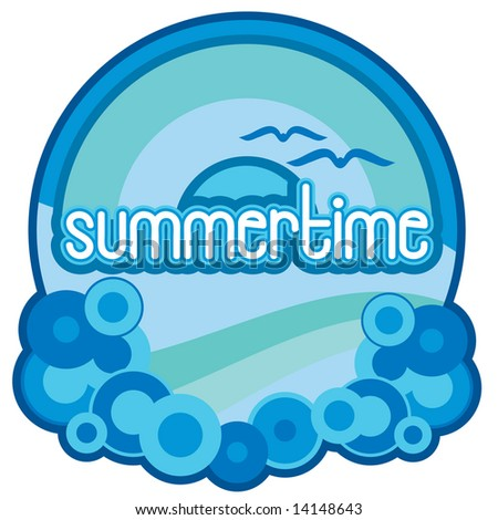 Vector summertime image with ocean waves, bubbles, rainbow, and sun in retro 1980s style graphics. Hand-drawn letters.