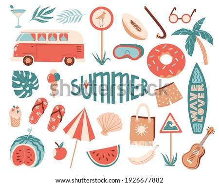 Vector summertime set with summer items: umbrella, snorkeling mask and snorkel, travel car, surfboard, slippers, ice cream, ukulele, exotic fruits. Doodle cartoon illustration