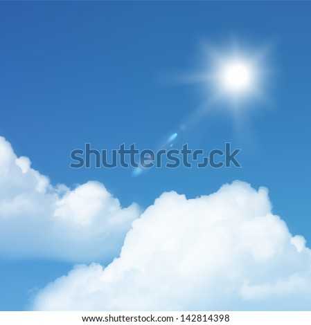 Vector sun and cloud on blue sky.
