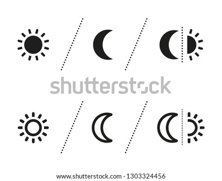 vector sun and moon icons