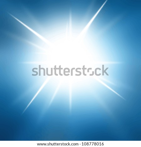 Vector sun in a bright blue sky