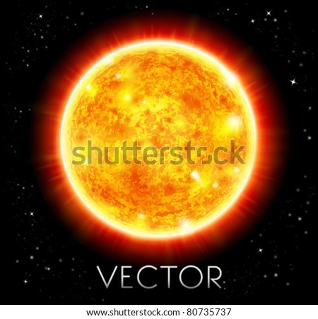 vector sun in a space background