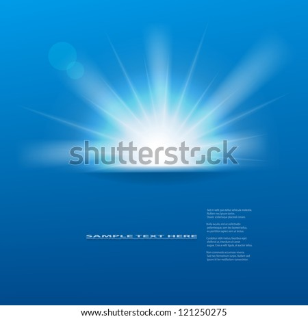 vector sun on blue background