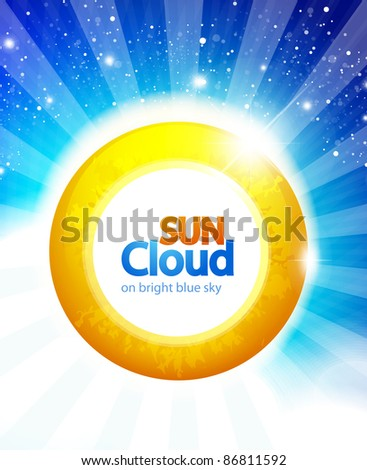 Vector sun on blue sky background