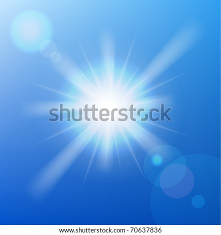 Vector sun on blue sky with lenses flare.