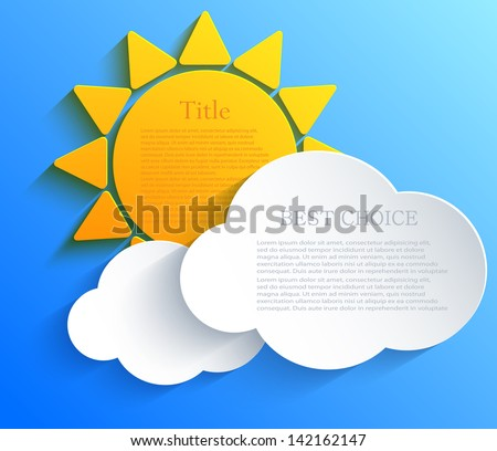 Vector sun with clouds background. Eps10