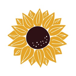 Vector Sunflower isolated on white background. Hand drawn flat Sunflower illustration. Summer flower clipart. Wildflower poster