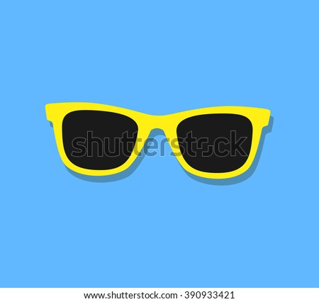 Shutterstock Vector Sunglasses Icon. Yellow sunglasses on blue background