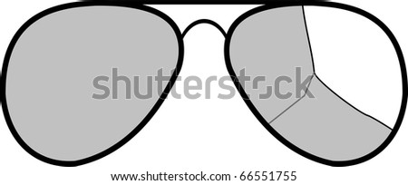 Vector sunglasses with broken glass - isolated illustration on white background