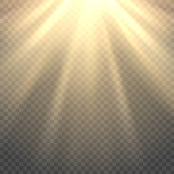 Vector sunlight. Sun beams or rays on transparent background