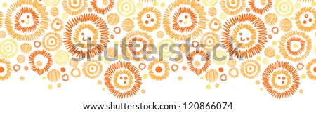 Vector sunny faces horizontal seamless pattern ornament background with hand drawn cartoon elements.
