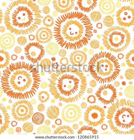 Vector sunny faces seamless pattern background with hand drawn cartoon elements.