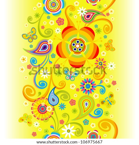 Vector sunny flowers seamless (summer floral pattern with butterfly)