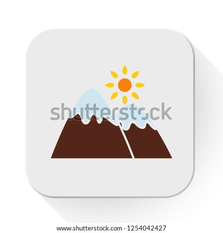 vector sunny mountains icon