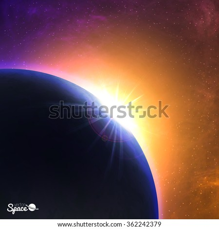 vector sunrise over the planet