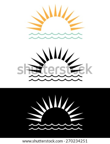 vector sunset and ocean graphic