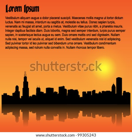 Vector sunset background with detailed Chicago silhouette skyline