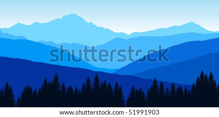 vector sunset in mountains